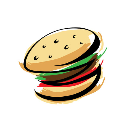 eating fast food: Burger isolated on white Illustration