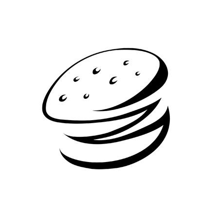 zwarte hamburger op wit wordt geïsoleerd  Vector Illustratie