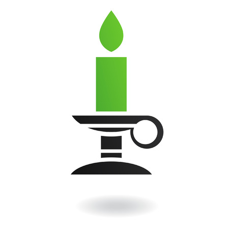 candleholder: Green candle in candleholder isolated on white