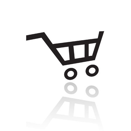 online logo: Black cart isolated on white