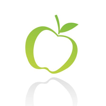 apple symbol: Green line art apple isolated on white