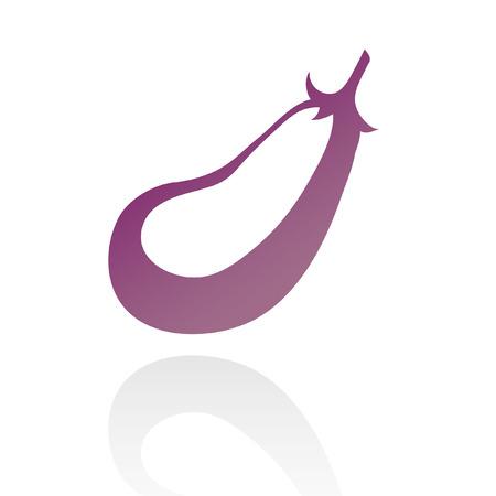 line art purple eggplant isolated on white