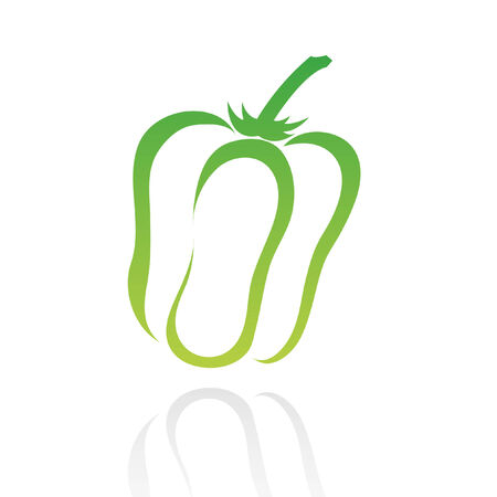 line art green pepper isolated on white Stock Vector - 7268580