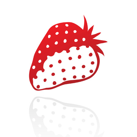one colour: Line art red strawberry isolated on white