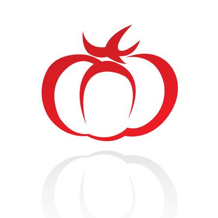 La línea de arte rojo tomate aislado en blanco