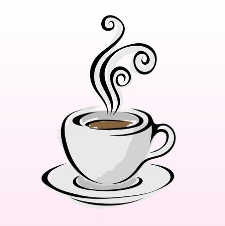 milk tea: Line art coffee isolated on white