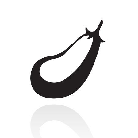 aubergine: line art black eggplant isolated on white Illustration