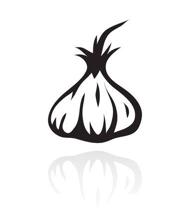 clove: line art black garlic isolated on white