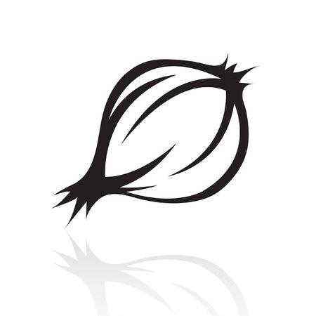 cebolla blanca: l�nea de arte negro cebolla aislado en blanco  Vectores