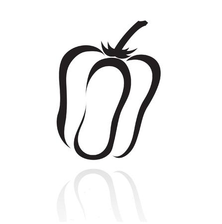 poivre noir: ligne art poivre isol� sur fond blanc Illustration