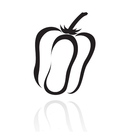 line art black pepper isolated on white Vector