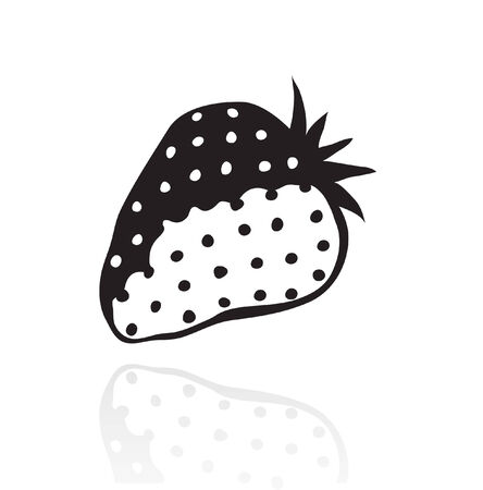 Line art black strawberry isolated on white Vector