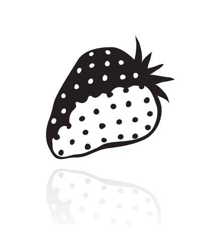 Line art black strawberry isolated on white Vector