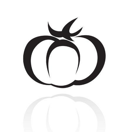 Line art black tomato isolated on white