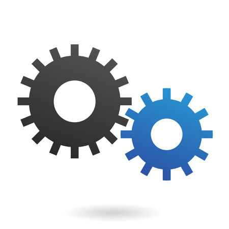 Blue and black cogs on white backround Vector