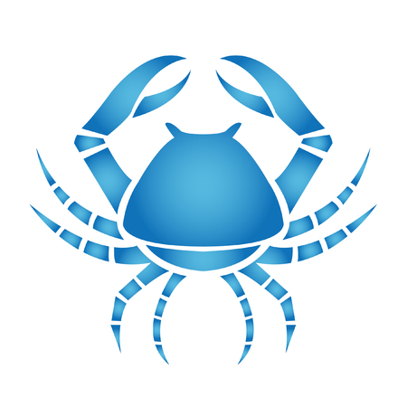 cancer symbol: C�ncer de zod�acos azul aislado en blanco