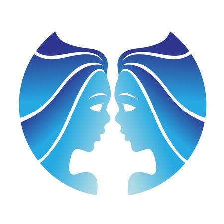 Gemini zodíacos azul aislados en blanco