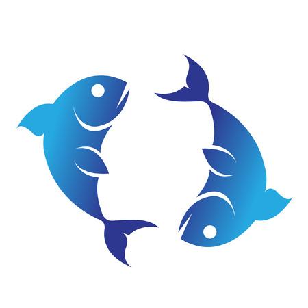 logo poisson: Zodiacs que Pisces bleu isol� sur fond blanc