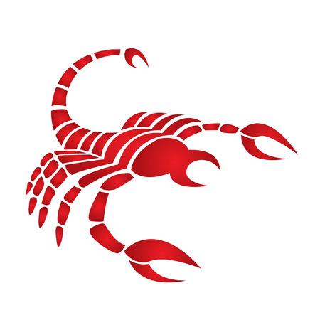 Zodiacs red scorpio isolated on white