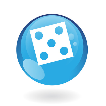 Blue dice isolated on white Vector