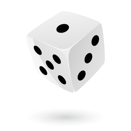 six objects: White dice isolated on white