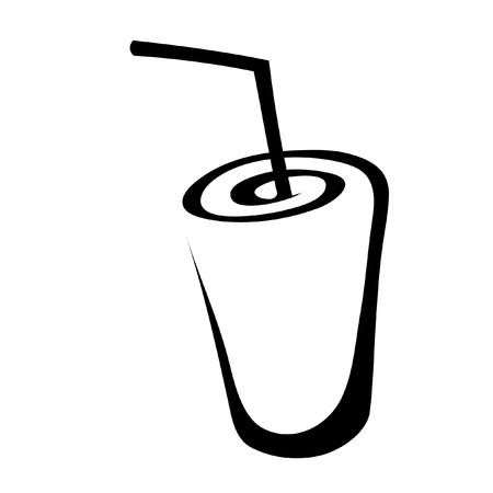 logo de comida: Arte de l�nea negra beber aislado en blanco