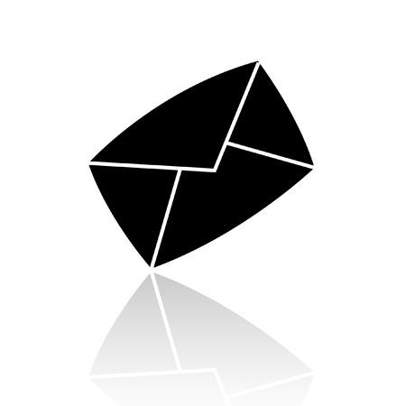 email icon: Black envelope isolated on white backround Illustration