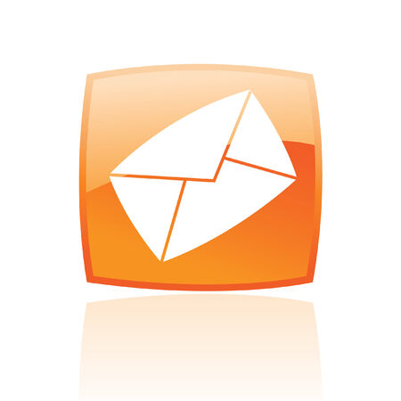 Orange envelope isolated on white Vector