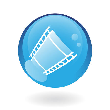 cinematic: film reel in blue glass button isolated on white