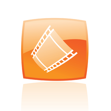 Film reel in orange glass button isolated on white Vector