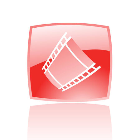 Red film reel in red glass button isolated on white Vector