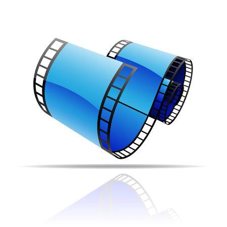 carrete de cine: Carrete de pel�cula azul aislado en blanco  Vectores
