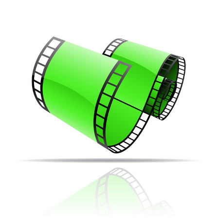 Green film reel isolated on white Vector