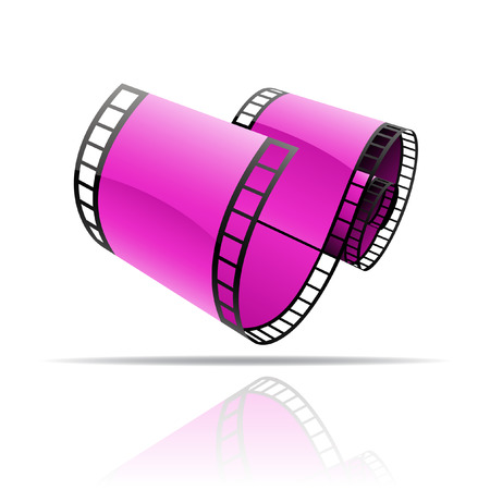 Purple film reel isolated on white Vector