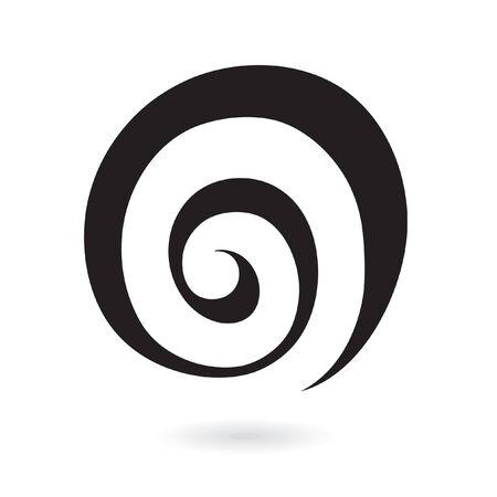 espiral: Icono de abstracta galaxia espiral aislado en blanco