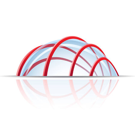 construction logo: Glass dome with red lines isolated on white