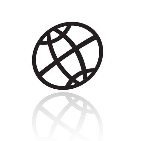 earth logo: Line art black globe isolated on white