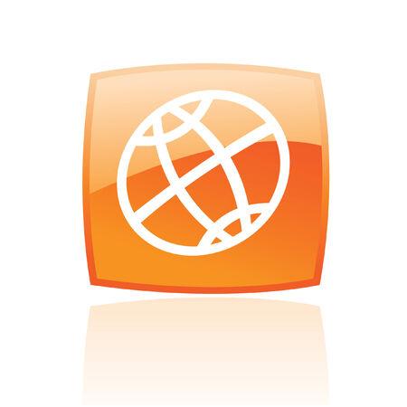 meridiano: Globo de arte de línea en el botón naranja aislado en blanco  Vectores