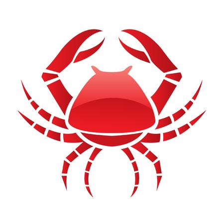 cangrejo: Cangrejo rojo brillante, aislado en blanco  Vectores