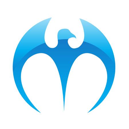 mascot: Blue glossy eagle isolated on white Illustration