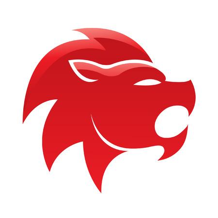 León brillante rojo, aislados en blanco