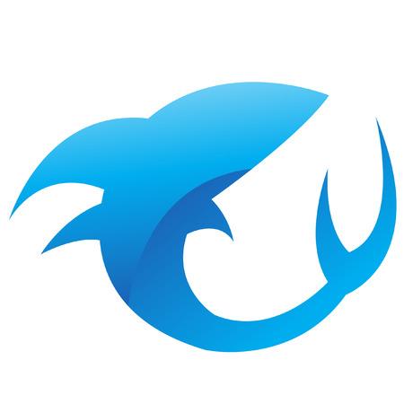 logo poisson: Requin bleu glac� isol� sur fond blanc