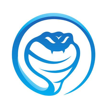 white snake: Glossy blue snake isolated on white