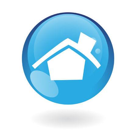Glossy home in blue button isolated on white Vector