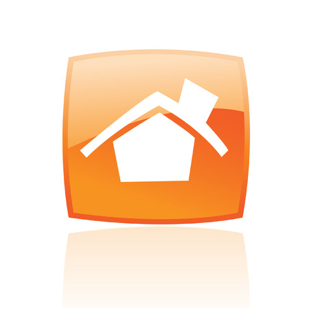 Glossy home in orange button isolated on white Vector