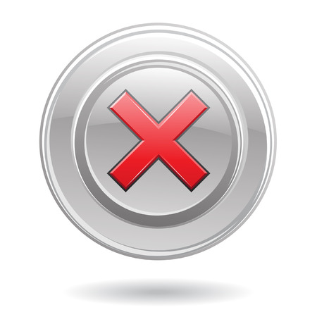 Red error sign in metallic button isolated on white Vector