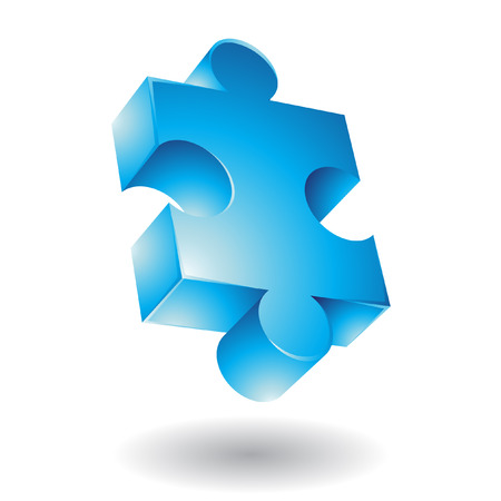 business puzzle: Glossy blue jigsaw isolated on white Illustration