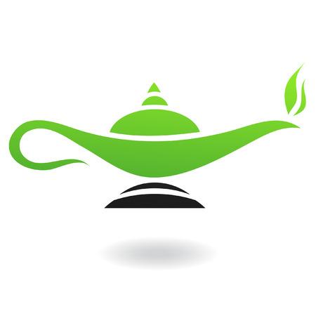 lampada magica: Linea arte verde e nero lampada magica isolata on white