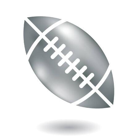 pumped: Line art metallic american football isolated on white Illustration