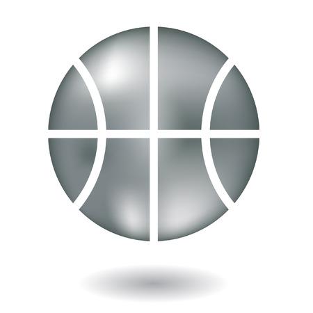 basketball dunk: Glossy line art metallic basketball isolated on white